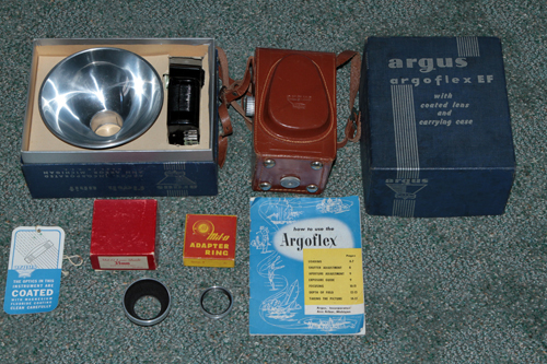 argus argoflex ef vintage film camera set 1948
