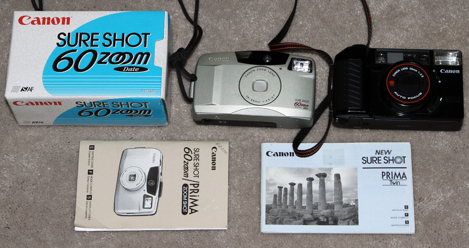 canon sure shot 60 zoom and canon new sure shot prima 1995