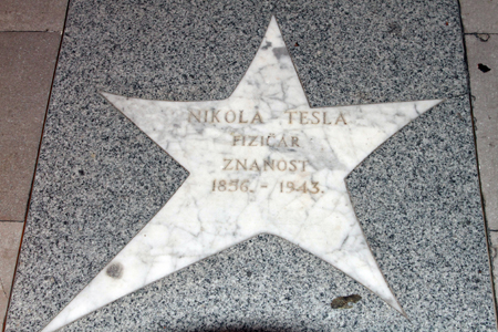 nikola tesla star in the walkway in the city of apatija, croatia
