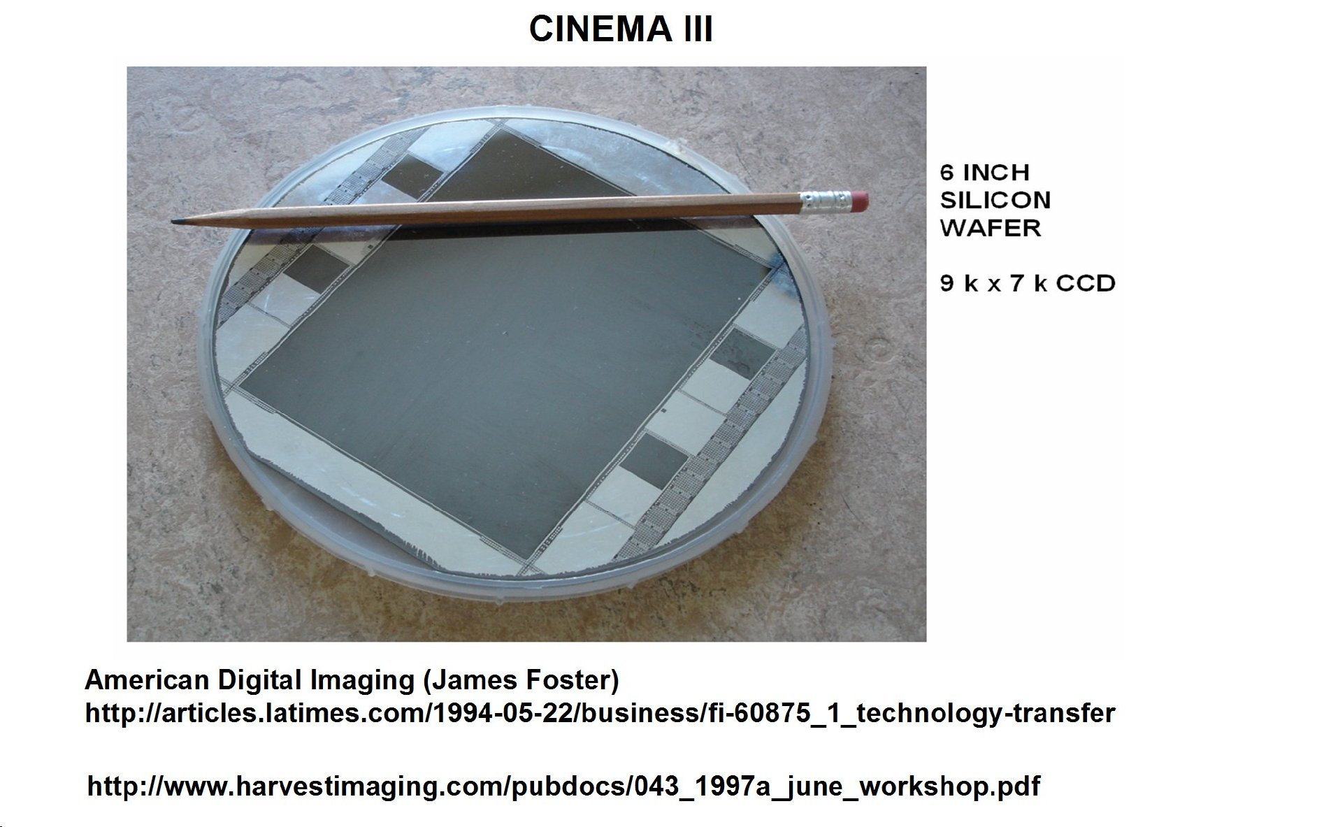 Janesick Cinema III commercial CCD imager wafer