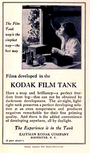 advertisement for kodak film developing tank 1918