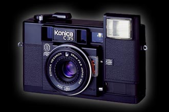 konica c35-affirstcompact point-and-shoot 35 mm autofocus camera 1977
