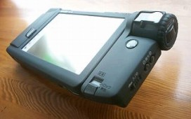 sharp zaurus pda with mi-10dc digital camera attached 1996