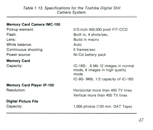 toshiba imc-100 memory card digital camera specs 1989